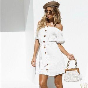 White Linen Off-The-Shoulder Dress